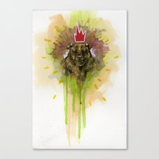 Bear with Red Crown Canvas Print