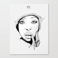 "erykah badu Canvas Prints featuring ""Erykah Badu 1"" by Sydney The Artist"