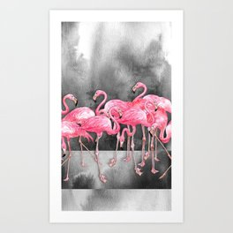 Flamingo Collage in Watercolor and Ink Kunstdrucke