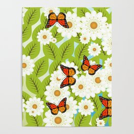 Daisies and butterflies Poster