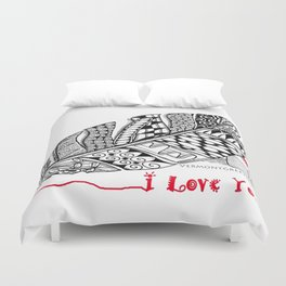 I Love You feather pen Duvet Cover