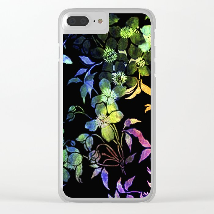 garland of flowers black version 2 Clear iPhone Case