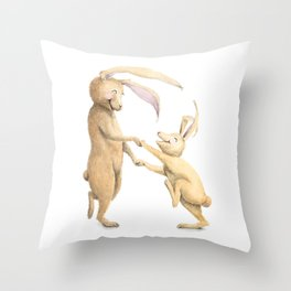 R is for Rabbits! Letters from the Laugh-A-Bit Alphabet by BirdsflyOver ABC Nursery Art Throw Pillow