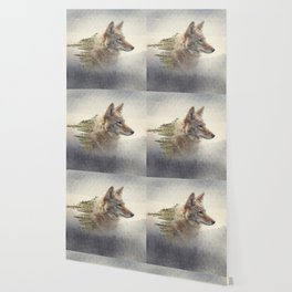 Double exposure of coyote portrait and pine forest on the mountain Wallpaper