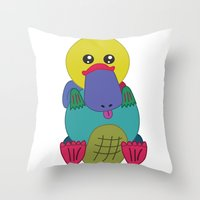 platypus Throw Pillows featuring Rainbow Platypus by Joy Deits