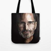 steve jobs Tote Bags featuring Steve Jobs by Misha Libertee