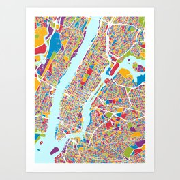 New York City Street Map Art Print