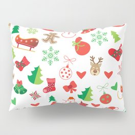 Happy New Year and Christmas Symbols Decoration Pillow Sham