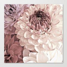 Romantic Pastel Dahlias Canvas Print