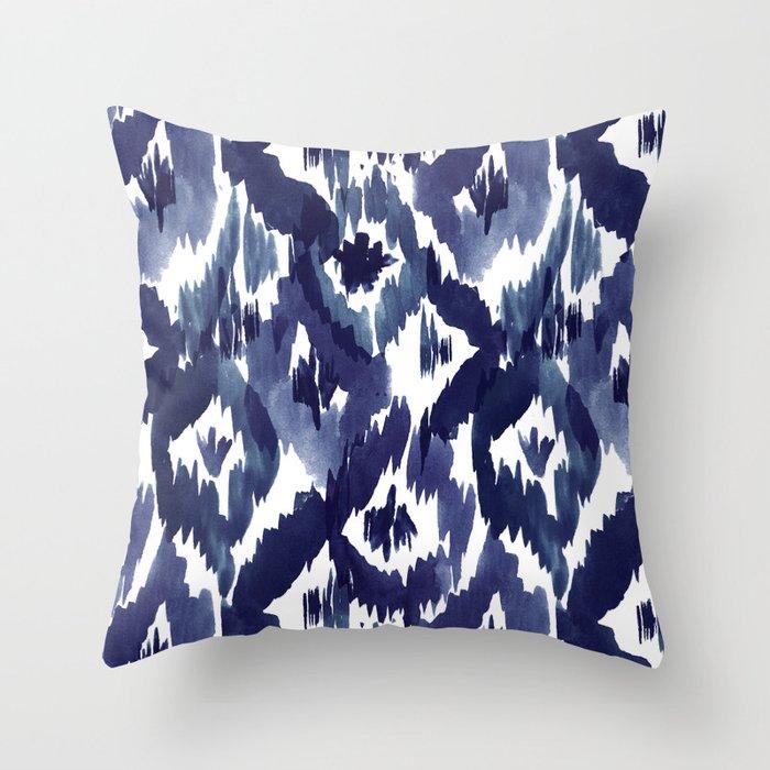 Indigo Blue Throw Pillow : Indigo Blue Ikat Throw Pillow by crystalwalen Society6