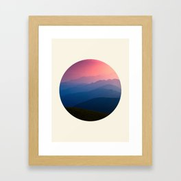 Blue Purple & Pink Mountains Sunset Silhouette Framed Art Print