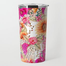 Pink orange spring vintage floral watercolor illustration pattern Travel Mug