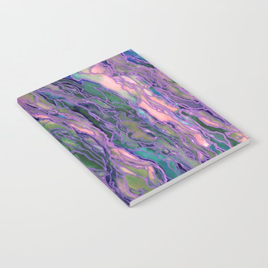 MARBLE IDEA! LAVENDER PINK PEACH Abstract Watercolor Painting Colorful Geological Nature Marbled Art Notebook