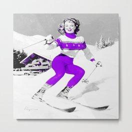 Snow Bunny Pin Up Girl Purple Metal Print