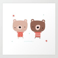 Christmas cute bears Art Print