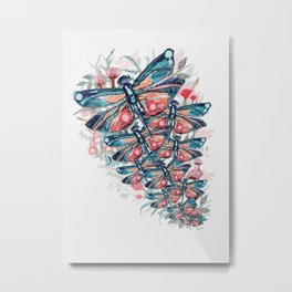 Rose Gold Dragonfly Garden | Pastel Metal Print