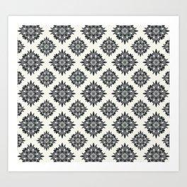 Black Foliage Tile Pattern Art Print