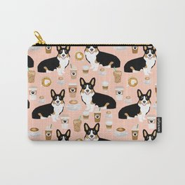 Welsh Corgi tri colored coffee lover dog gifts for corgis cafe latte pupuccino corgi crew Carry-All Pouch