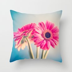 Acid Tongue, Pink Flower on Blue  Throw Pillow
