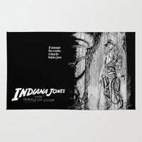 indiana jones Area & Throw Rugs featuring Indiana Jones and the Temple of Doom by Meredith Mackworth-Praed