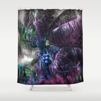 coconut wishes Shower Curtains featuring Coconut Tree by Sarah Maurer