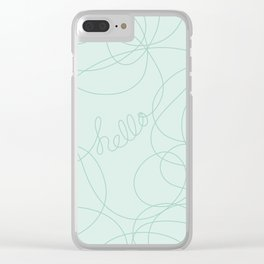 Hello in Teal Squiggles Clear iPhone Case