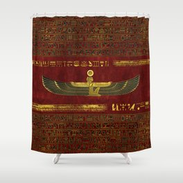 Golden Egyptian God Ornament on red leather Shower Curtain