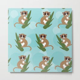 pattern - lemur on green branch on blue background Metal Print