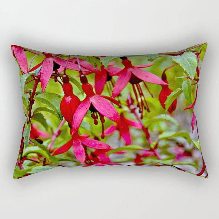 Pink Fuchsia Blossoms Rectangular Pillow