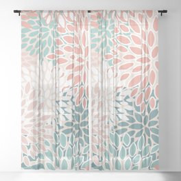 Modern Floral Prints, Teal, Peach, Coral, Abstract Art, Colour Prints Sheer Curtain