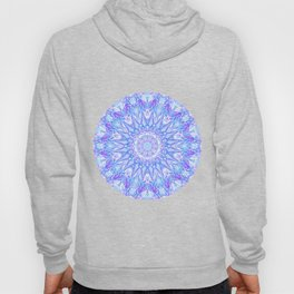 Light Blue Purple Mandala | Flower Kaleidoscope Digital Design Hoody