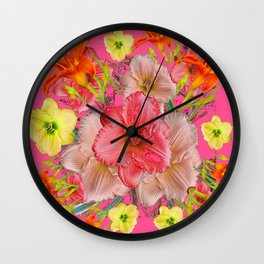 YELLOW PINK & CREAM DAYLILIES COLLAGE Wall Clock