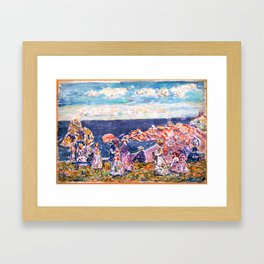On the Beach by Maurice Prendergast - Belle Époque Watercolor Painting Framed Art Print