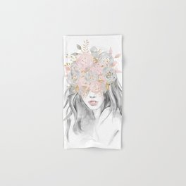 She Wore Flowers in Her Hair Rose Gold by Nature Magick Hand & Bath Towel