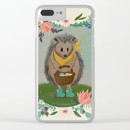 Happy Hedgehog Welcomes Spring Clear iPhone Case