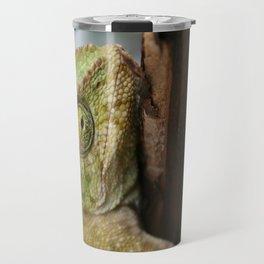 Chameleon Hanging On To A Door Travel Mug