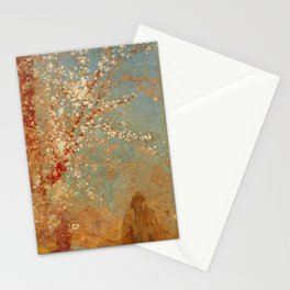 Odilon Redon - Figure under a blossoming tree Stationery Cards