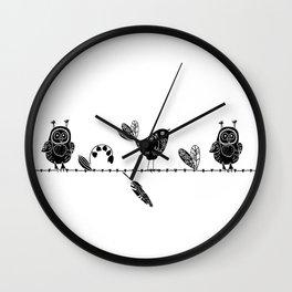 Doodle owl and bird  Wall Clock