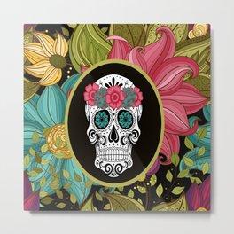 Amanda Floral Sugar Skull Metal Print