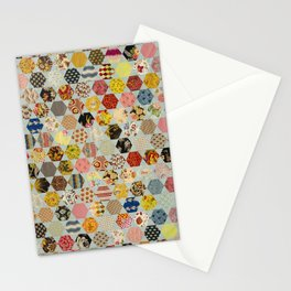 Hexagon and Blue Star Quilt Stationery Cards
