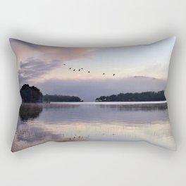 Uplifting II: Geese Rise at Dawn on Lake George Rectangular Pillow