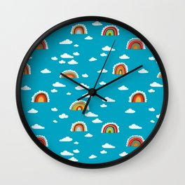 Rainbow Cloud Pattern by Robayre Wall Clock