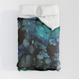 Blue Galaxy: Original Abstract Alcohol Ink Painting Comforters