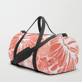 Winter Aloha in Coral Duffle Bag