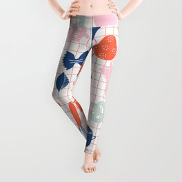Cute Kitchen Tools in pink red and blue Leggings
