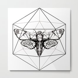 Hand drawn moth geometric design Metal Print