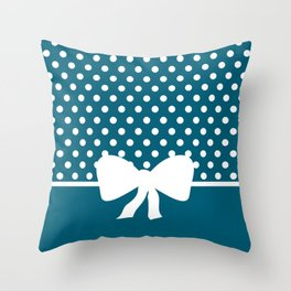 Dots dip-dye pattern with cute bow in dark blue Throw Pillow