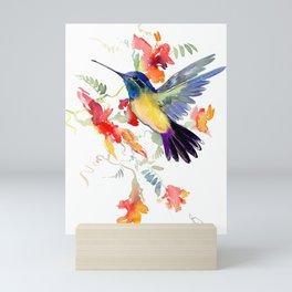 Hummingbird, floral bird art, soft colors Mini Art Print