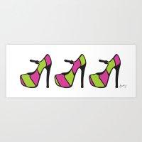 High Heel Parade - Pink & Green Art Print