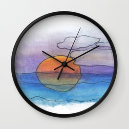 Sunset Dreaming - Watercolor Design Wall Clock